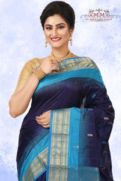 Navy Blue Kanjivaram Silk Saree