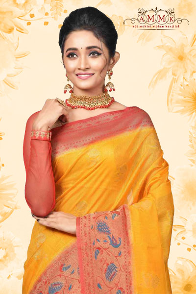 Yellow Khaddi Silk Saree
